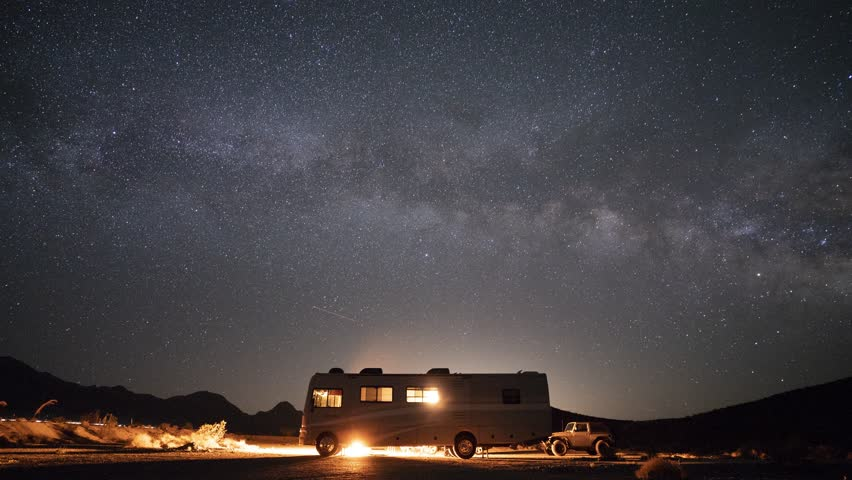DEATH VALLEY, USA -September 03, 2018- RV camping under the stars in the middle of Death Valley National Park Desert, California.