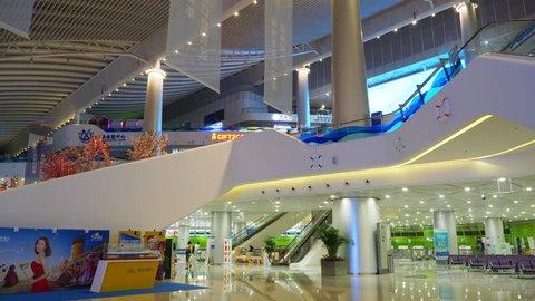 SHENZHEN, CHINA - OCTOBER 5 2017:  famous cruise terminal main hall interior panorama 4k circa october 5 2017 shenzhen, china.