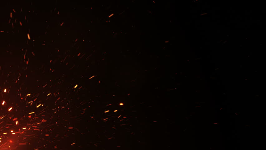Beautiful Burning Hot Sparks Rising from Large Fire in Night Sky. Abstract Isolated Fire Glowing Particles on Black Background Flying Up. Looped 3d Animation. 4k Ultra HD 3840x2160.