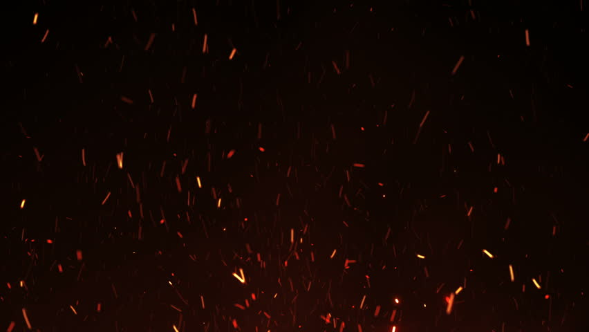 Beautiful Burning Hot Sparks Rising from Large Fire in Night Sky. Abstract Isolated Fire Glowing Particles on Black Background Flying Up. Looped 3d Animation. Moving Up. 4k Ultra HD 3840x2160. #1016205688