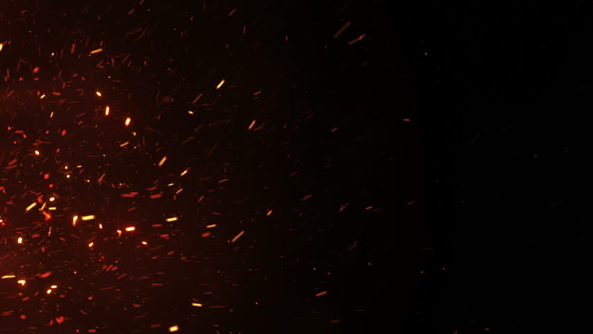Beautiful Burning Hot Sparks Rising from Large Fire in Night Sky. Abstract Isolated Fire Glowing Particles on Black Background Slow Motion. Looped 3d Animation. Moving Side. 4k Ultra HD 3840x2160. #1016205694