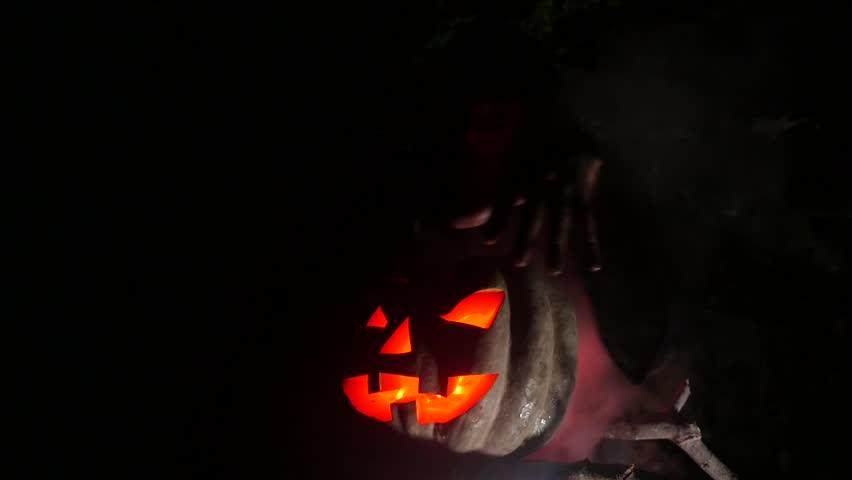 Hexing Wicked Witch in Halloween Horror Scene | Shutterstock HD Video #1016223259