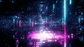 3d render, abstract urban virtual reality tunnel. Futuristic motion graphic. Ultra violet neon light glow. Camera spinning around. Drone fast flying forward. Loop at 2K resolution.