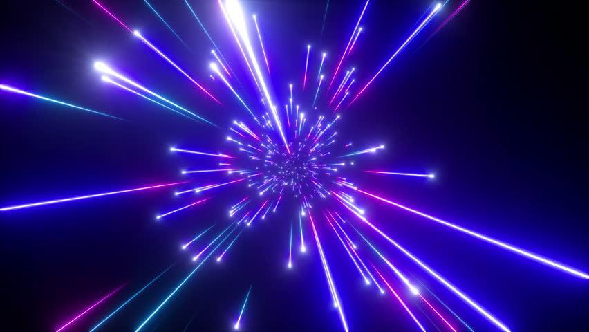 3d render, big bang, galaxy horizon, abstract cosmic background, celestial, beauty of universe, speed of light, fireworks, red blue neon glow, stars, cosmos, infrared light, outer space, 4k animation