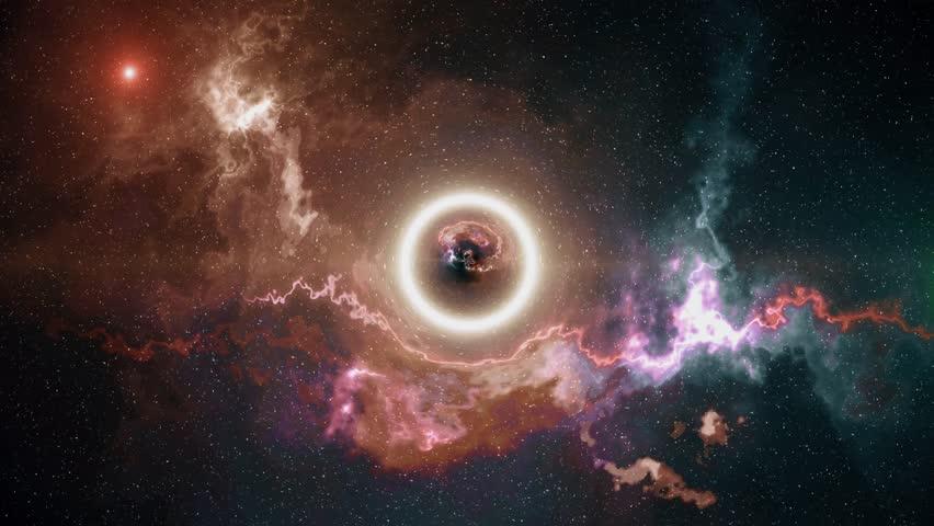 Big Bang, the origin of the black hole, bright futuristic composition