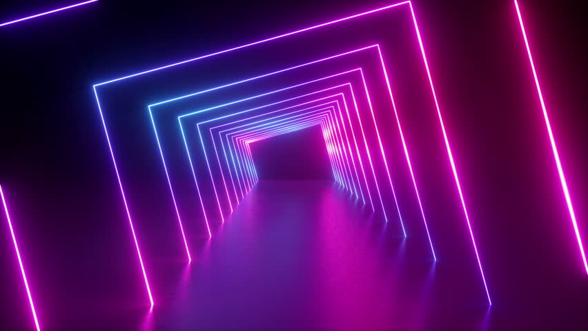3d render, abstract geometric background, fluorescent ultraviolet light, glowing neon lines rotating tunnel, blue red pink purple spectrum, spinning around, modern colorful illumination, 4k animation #1016279176