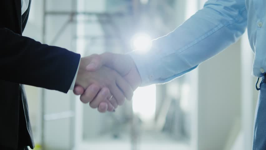 Two business partners shake their hands #1016282317