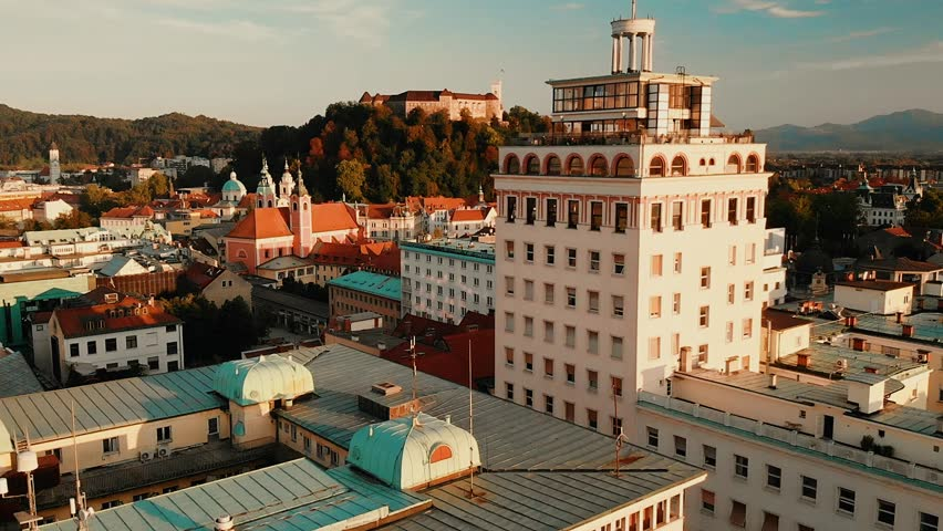 Aerial panoramic view of Ljubljana, capital of Slovenia at sunset. Royalty-Free Stock Footage #1016292787