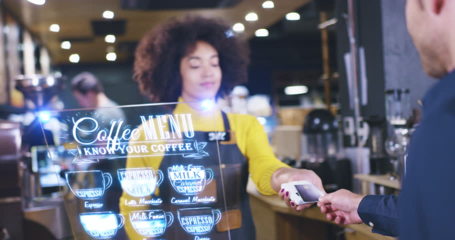 Beautiful Barista Woman Servicing Client At Cafe Bar Futuristic Hud Display Menu Wireless Payment Near Future Concept Red Epic 8K #1016321476
