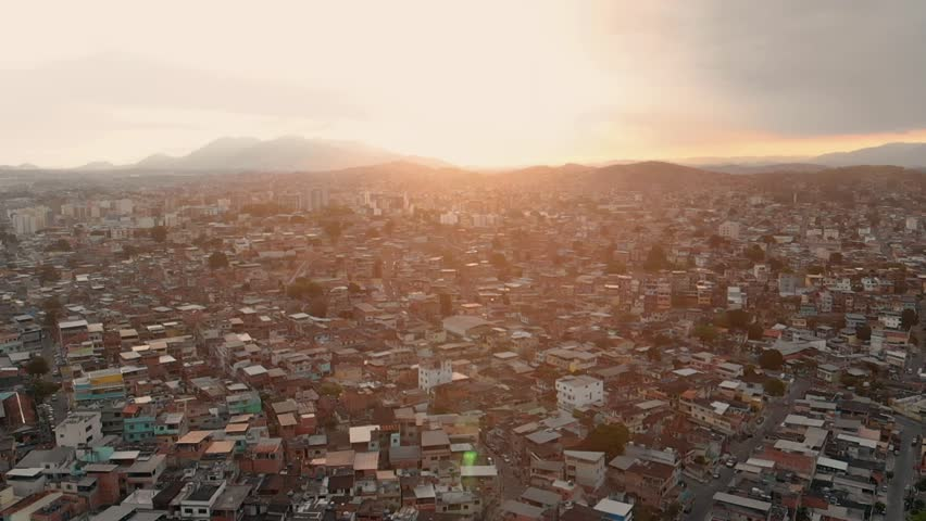 Aerial View of Suburban Rio de janeiro, brazil. Baixada fluminense. Poverty, population, other side of turistic city
