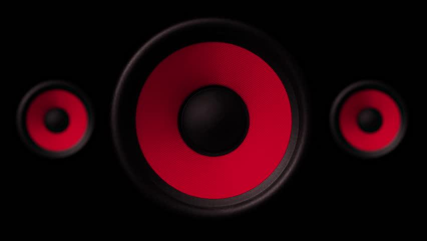 3X Loudspeaker, Close Up Pumped sound waves, 4K membrane Red #1016340340
