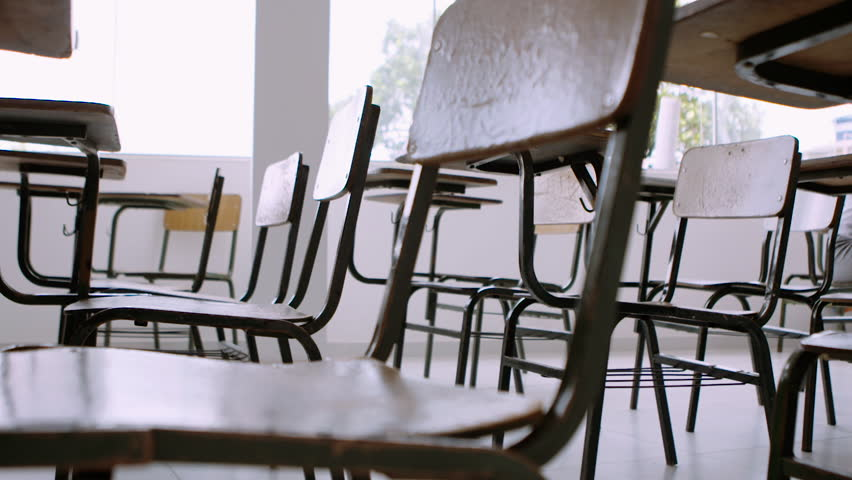 Wooden Chairs in School Classroom #1016341501