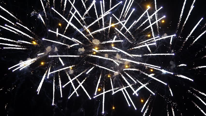New year's fires. Fireworks show: a class of low explosive pyrotechnic devices used for aesthetic and entertainment purposes.  | Shutterstock HD Video #1016375314