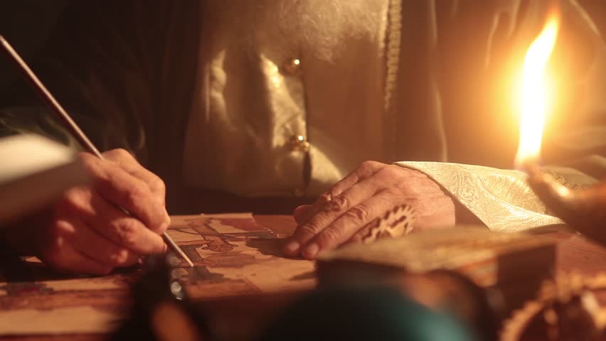 Old islamic muslim scientist working in madrasah room. Old tools, reed pen, ink pot, papirus drawings and book of quran some scenes in dark and foggy enviroment.  | Shutterstock HD Video #1016384599