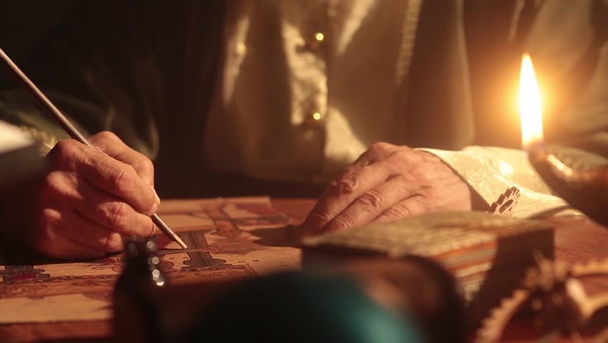 Old islamic muslim scientist working in madrasah room. Old tools, reed pen, ink pot, papirus drawings and book of quran some scenes in dark and foggy enviroment.  | Shutterstock HD Video #1016384602