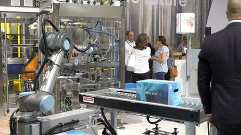 HELSINKI, FINLAND - MAY 30, 2018: Robotic automated conveyor system from FLEXLINK during the big exhibition PacTec in the expo centre Messukeskus.