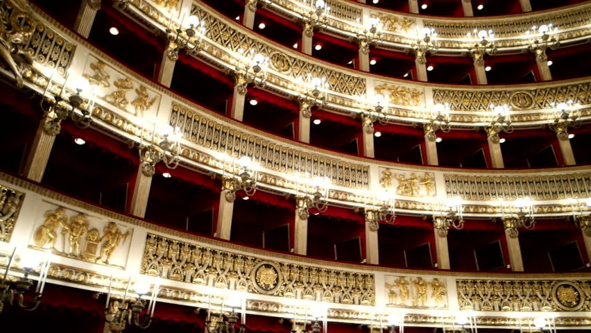 Pan clip of Teatro San Carlo in Naples, Italy, one of most known and oldest opera houses in Italy and Europe.