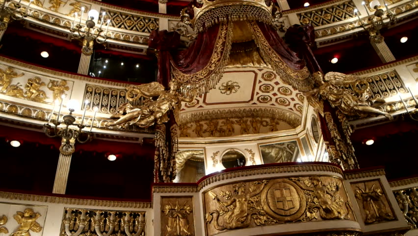 Pan clip of royal stage of Teatro San Carlo in Naples, Italy, one of most known and oldest opera houses in Italy and Europe.