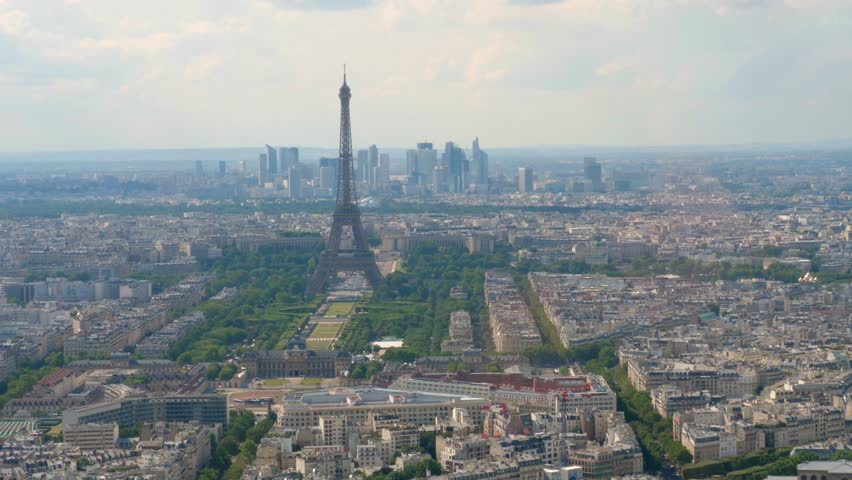 Eiffel Tower and La Défense from the Montparnasse tower in Paris | Shutterstock HD Video #1016428444