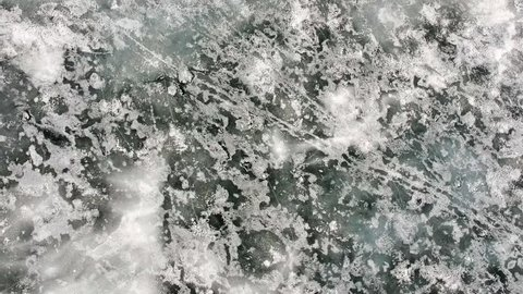 Aerial footage of an icy lake in Binbrook, ON Canada