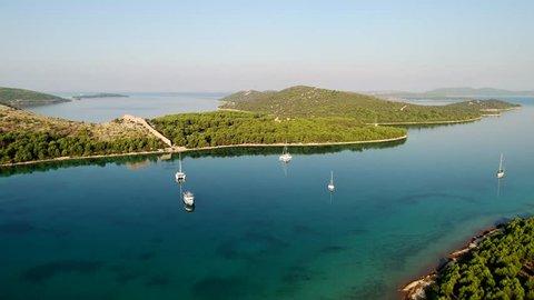 Aerial footage of peninsula near Sibenik, Croatia
