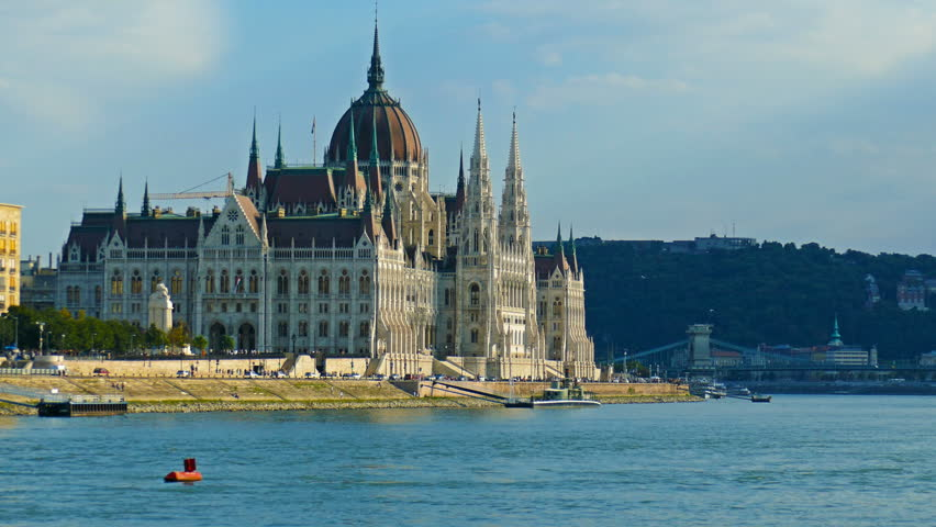The Hungarian Parliament building with the Danube river in Budapest, Hungary Royalty-Free Stock Footage #1016462476