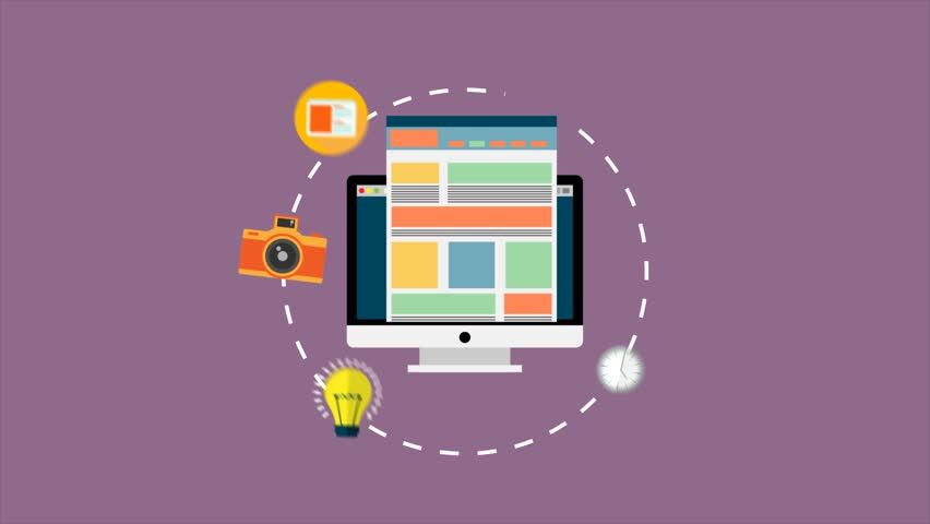 Web Design Multimedia Icons around a computer