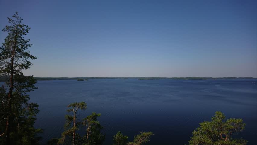 Beautiful landscape clip taken above the Lake Saimaa in Finland.