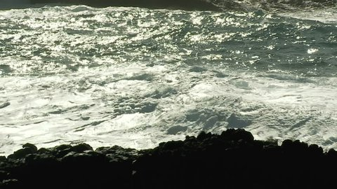 Waves of the ocean beat against the shore