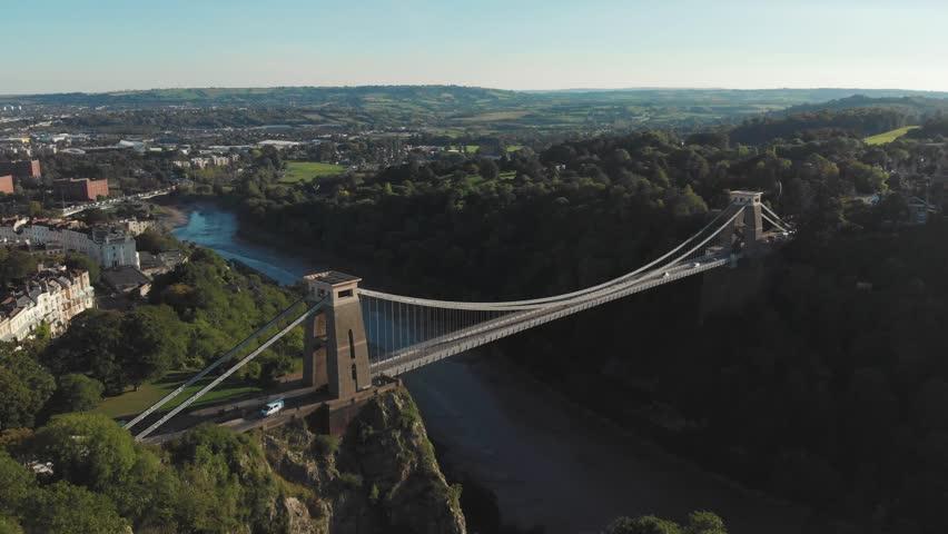 Aerial drone shot of Clifton Suspension Bridge & Observatory, Bristol
