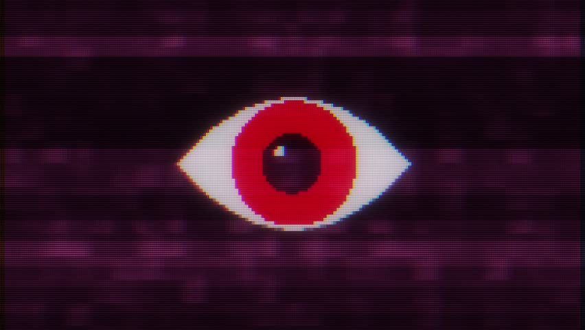 Pixel eye symbol on glitch lcd led screen display background animation seamless loop New quality universal close up vintage dynamic animated colorful joyful cool video footage   Shutterstock HD Video #1016503420