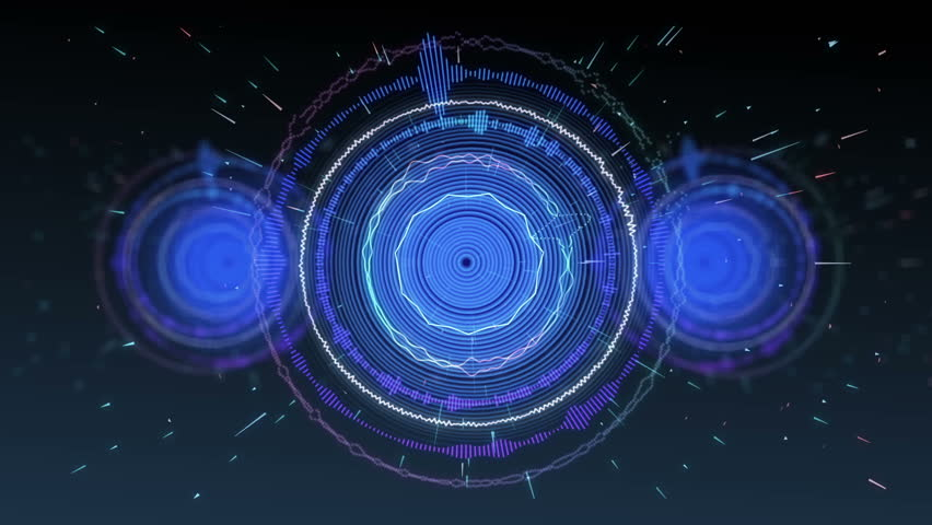 Music or audio visualization in the form of a circle with the motion of particles seamless loop