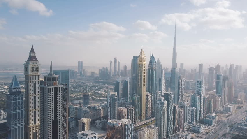 High skyscrapers in the center of Dubai. View from the drone #1016545009