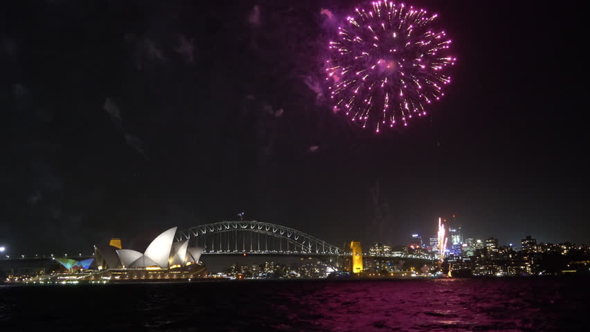 4k UHD cinematic establishing shot of fireworks at Sydney city skyline.  | Shutterstock HD Video #1016551219