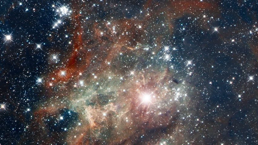 Travel to tarantula nebula also know 30 doradus star nursery in outer space with infinite  flying star field and flare light. Contains public domain image by NASA | Shutterstock HD Video #1016552959