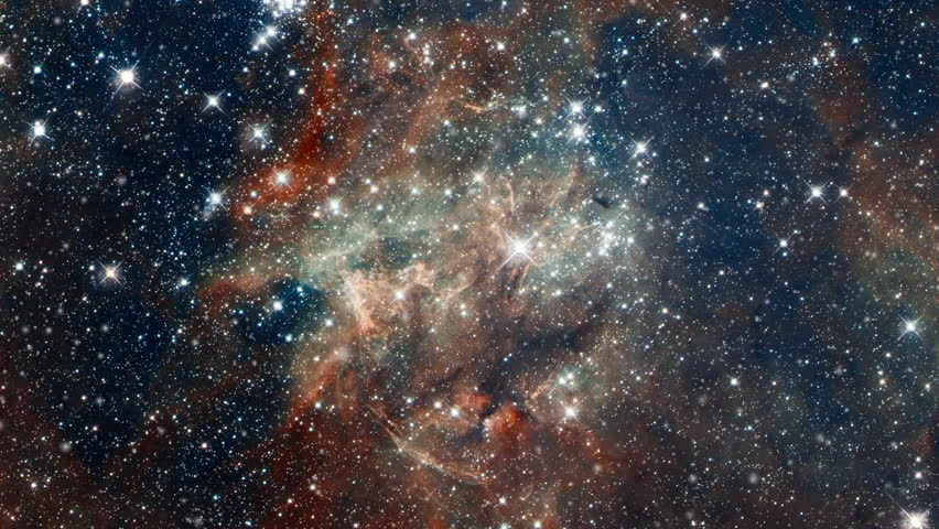 Travel to tarantula nebula also know 30 doradus star nursery in outer space with flying star field. Contains public domain image by NASA | Shutterstock HD Video #1016552974