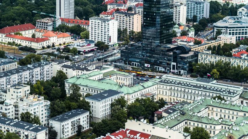 Aerial View of Warsaw, City Center, Palace of Culture and Science, Palac Kultury i Nauki, Warszawa, Poland, Polska | Shutterstock HD Video #1016559037