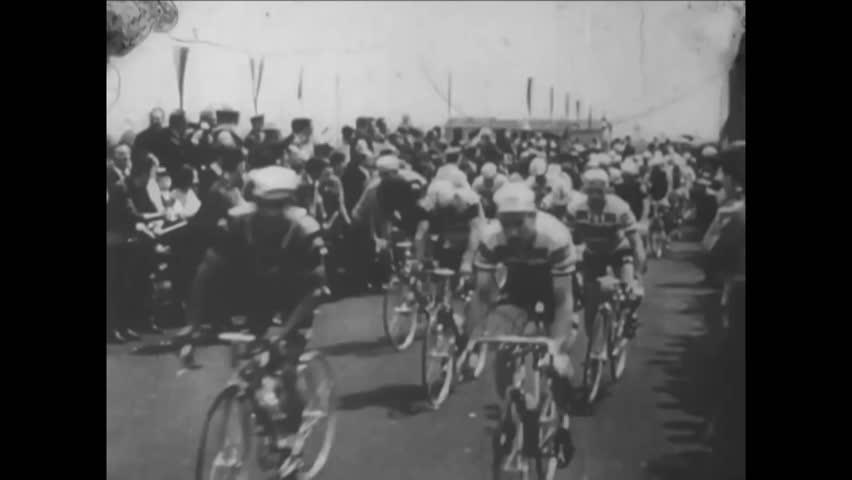 CIRCA 1960s - Antonio Gomez del Moral wins the Giro d'Italia Cycling Race in Italy.