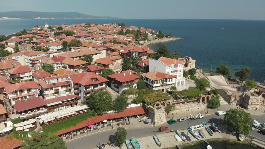 Aerial drone footage of Nessebar, ancient city on the Black Sea coast of Bulgaria