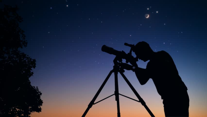 Man looking at stars and Moon through a telescope. My astronomy work. Royalty-Free Stock Footage #1016603194