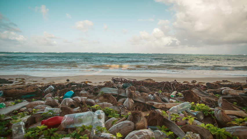 Plastic bags and bottles pollute the tropical sandy beaches of Little Corn Island in Nicaragua.