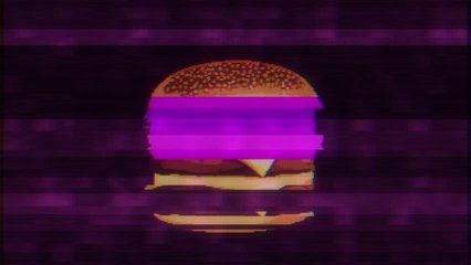 pixel burger glitch lcd screen background animation seamless loop New quality universal vintage stop motion dynamic animated colorful joyful cool video footage