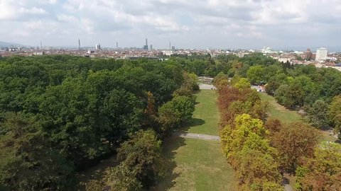Aerial view of City park Borisova gradina in Eastern Europe Sofia Bulgaria