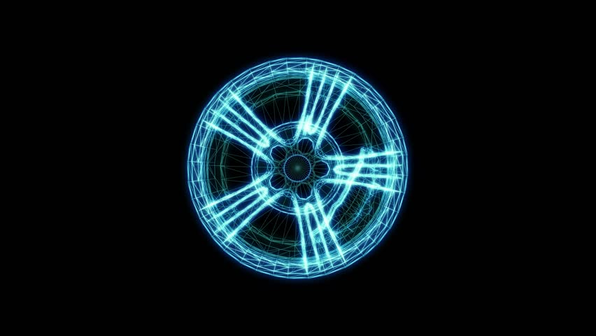 Abstract rotation of neon wireframe rim. Car wheel, 3d render. Chroma key