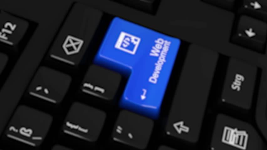 Web Development Rotation Motion On Blue Enter Button On Modern Computer Keyboard with Text and icon Labeled. Selected Focus Key is Pressing Animation. Website Development Concept | Shutterstock HD Video #1016655028