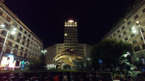 MILAN/ITALY - PIAZZA ARMANDO DIAZ Circa September 2018  -  Armando Diaz Square with the Martini Tower built in 1958.