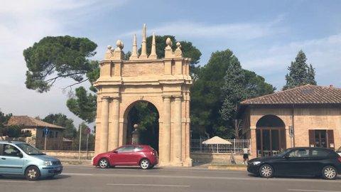 The triumphal arch of Villa Miralfiore located in italy