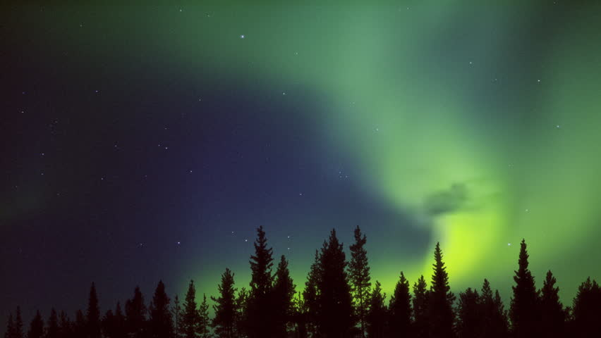 yellow green midnight aurora over the forest Royalty-Free Stock Footage #1016668204