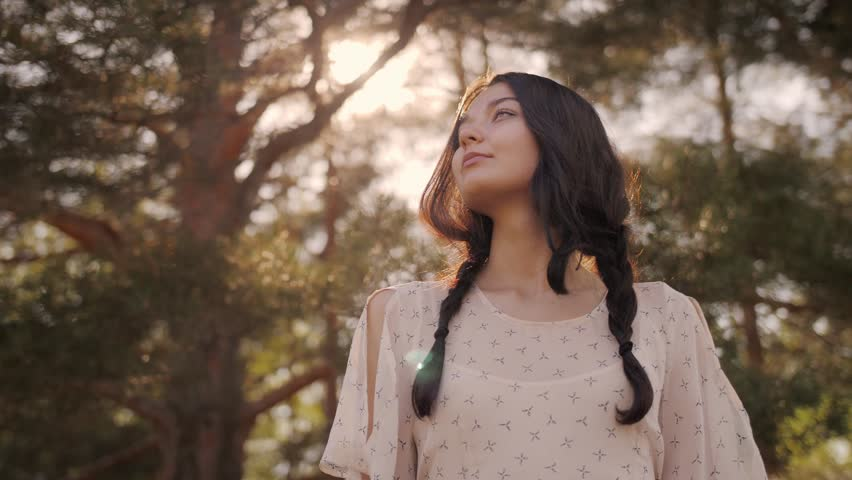 Free happy woman in forest enjoying nature. Natural beauty girl outdoor in freedom enjoyment concept. Mixed race Caucasian Asian girl posing on travel vacation holidays in dress. Slow motion 4k | Shutterstock HD Video #1016684293
