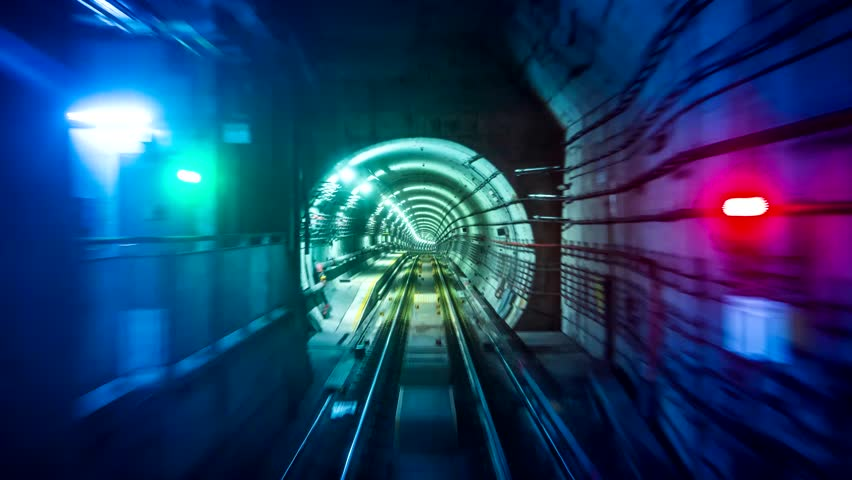 Fast Speed Subway Train Moving Forward Looping 4K Time Lapse Royalty-Free Stock Footage #1016688946